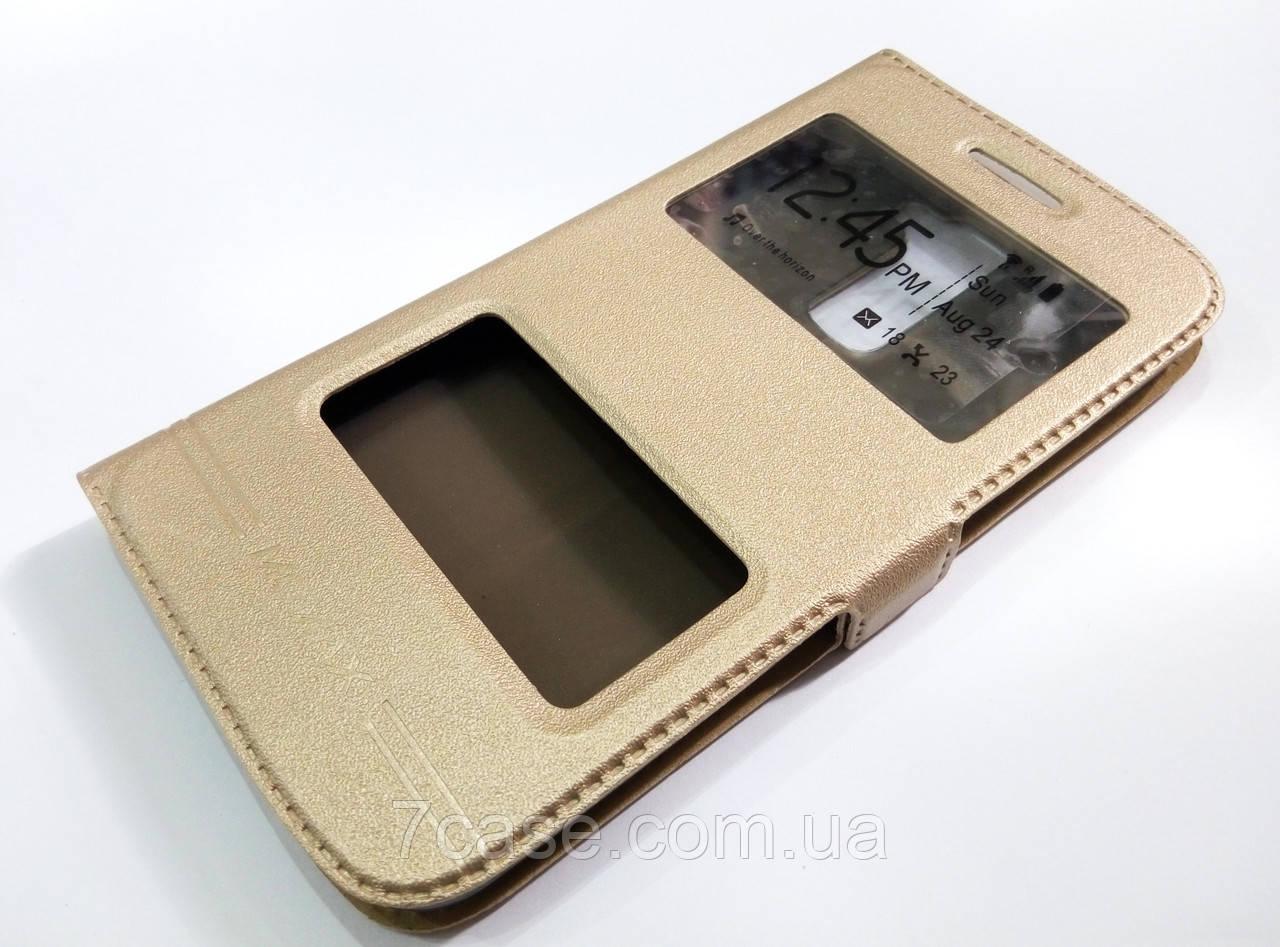 Чехол книжка с окошком momax для LG K7 x210 золотой