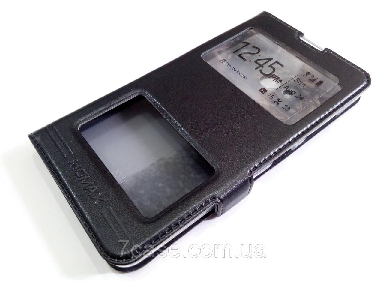 Чехол книжка с окошками momax для Microsoft Lumia 540 Dual SIM черный