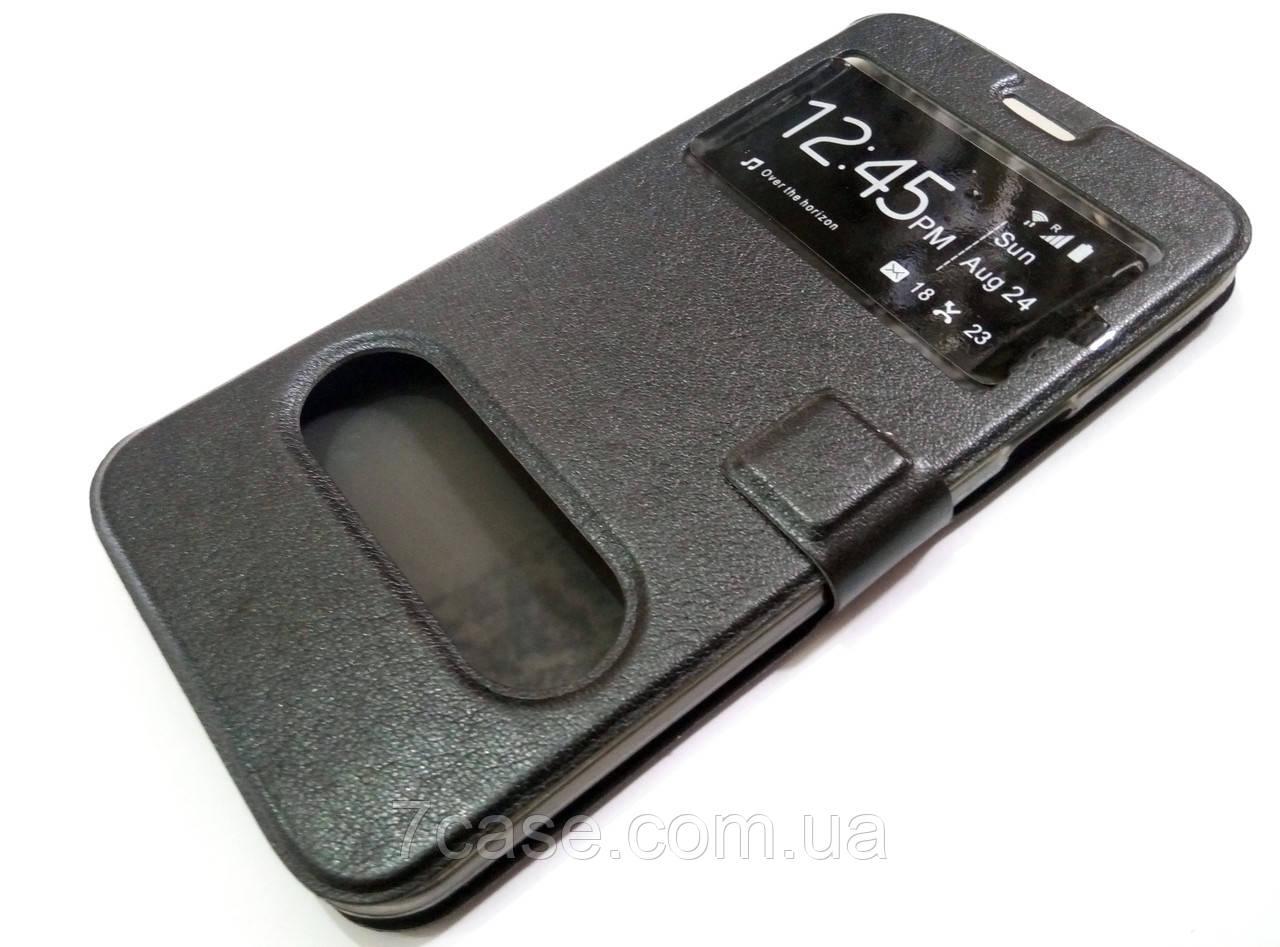Чехол книжка с окошками для Samsung Galaxy A8 a800 (2015) черный