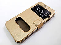 Чехол книжка с окошками для Samsung Galaxy E5 e500h золотой, фото 1