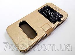 Чехол книжка с окошками для Samsung Galaxy E5 e500h золотой