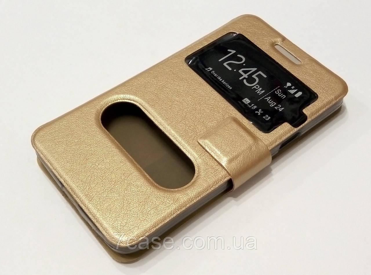 Чехол книжка с окошками momax для Samsung Galaxy Alpha g850f золотой