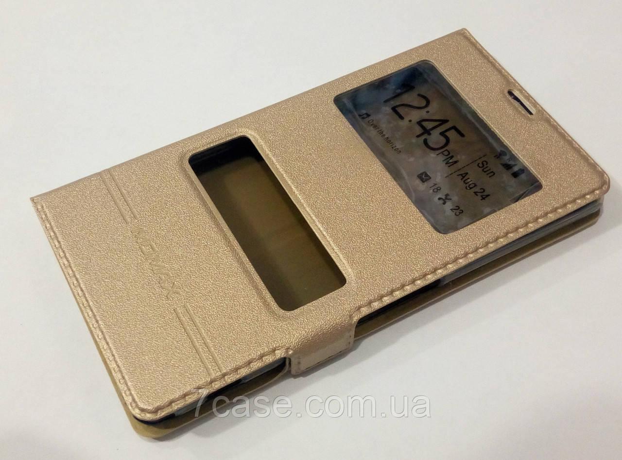 Чехол книжка с окошками momax для Sony Xperia Z1 l39h c6902, c6903, c6943 gold