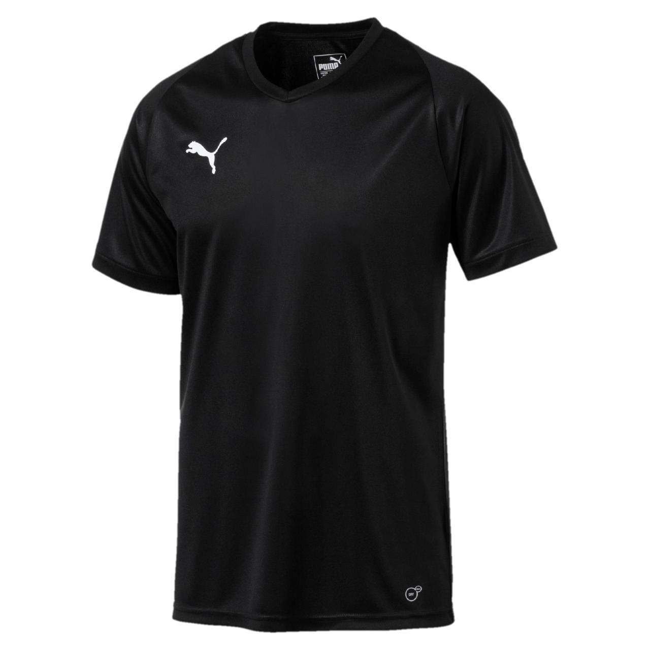Футболка спортивная мужская Puma Liga Core Jersey 703509 03 (черная, полиэстер, для тренировок, логотип пума)