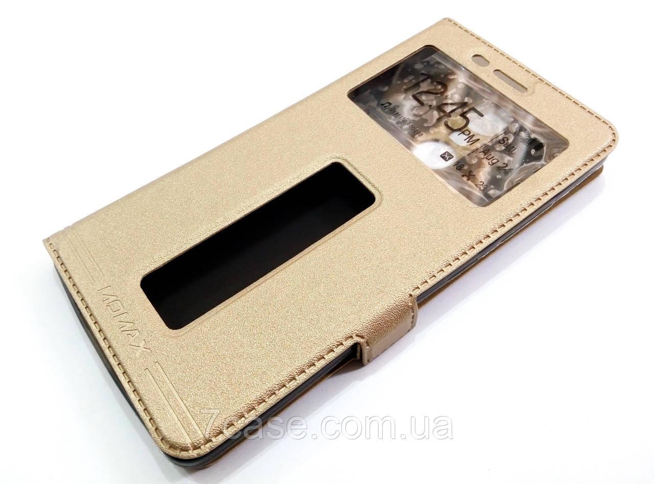Чехол книжка с окошками momax для Lenovo K5 Note a7020 / a7020 / K5 Note Pro золотой