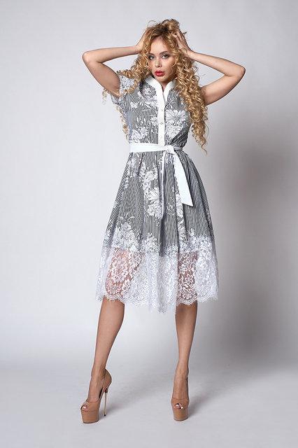 6417ff4c5dea838 Легкое изящное платье в полоску и белые цветы - Оптово-розничный магазин  одежды