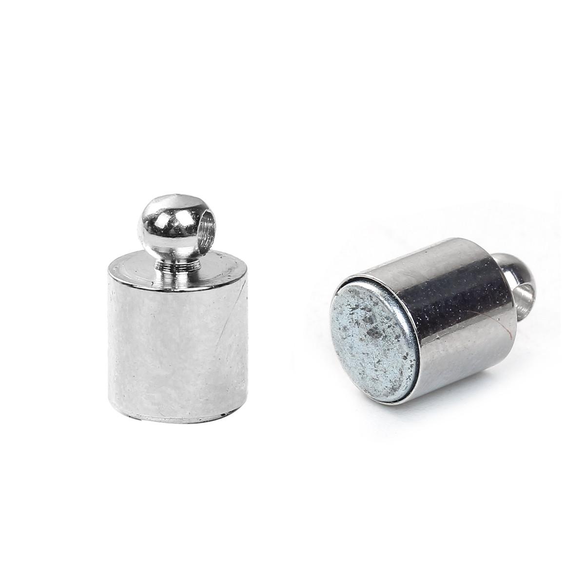 Застежка магнитная, Цилиндр, Неодимовый магнит, Серебряный тон, 20 мм x 6 мм