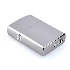 Электроимпульсная зажигалка SUNROZ, Портативная электронная аккумуляторная USB зажигалка, Серебряная (SUN0213)