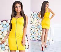 Желтое однотонное платье