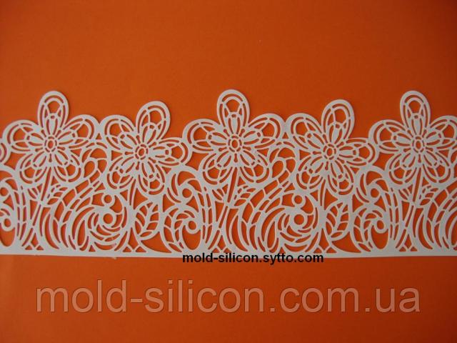 """Силиконовый коврик для гибкого айсинга """" Цветы полоса"""""""