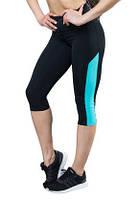 Спортивные бриджи широкий пояс (40,42,44,46,48,50,52), женские капри для спорта и фитнеса, МЯТА