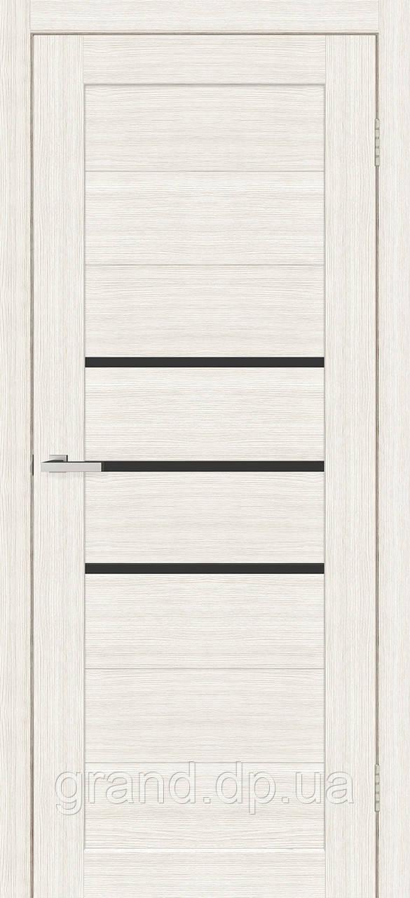 """Дверь межкомнатная """"06 Cortex ЧС"""" с черным стеклом, цвет дуб bianco"""