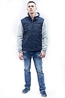Весеннее-осенняя куртка мужская на синтепоне, с капюшоном сьемным