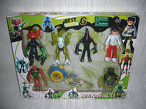 Фигурки героев Ben 10 в наборе 6 шт плюс часы, набор 2