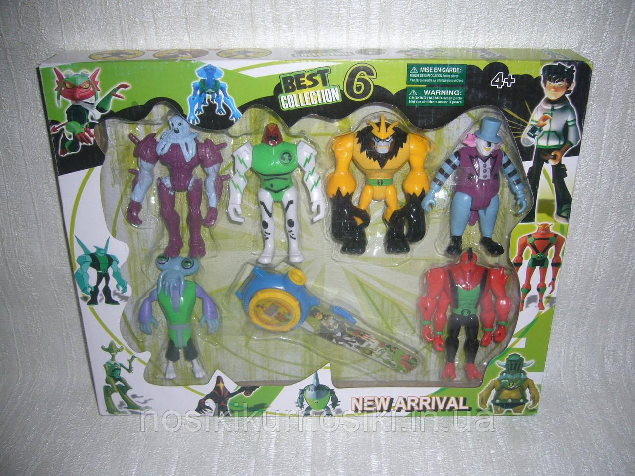 Фигурки героев Ben 10 в наборе 6 шт плюс часы, набор 3