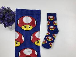 Носки Грибы Марио высокие (синие)