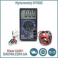 Мультиметр DT700C с термопарой и прозвонкой, крупные цифры на экране, фото 1