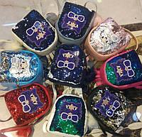 Рюкзак с пайетками детский яркий модный Котик, оптом в Одессе