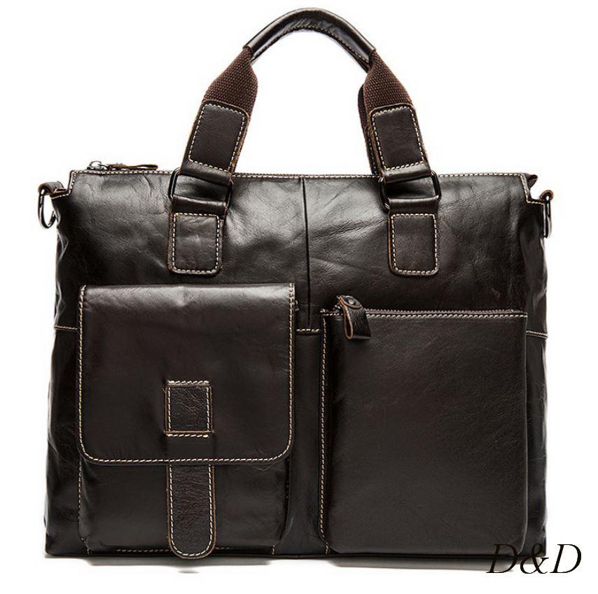 Мужской портфель, сумка из натуральной кожи коричневый RUYIHUANG