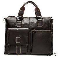 Мужской портфель, сумка из натуральной кожи коричневый RUYIHUANG, фото 1