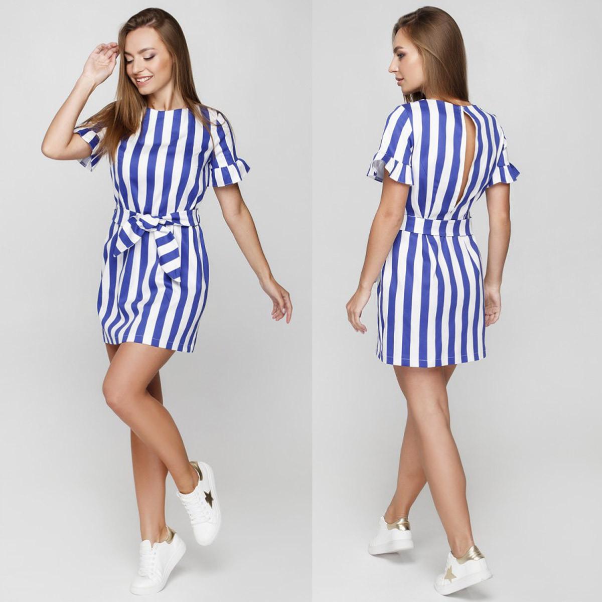 1e5c8273938 Коттоновое короткое летнее платье в полоску размер M