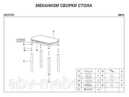 Стол стеклянный обеденный Nestor (Halmar ТМ), фото 2