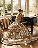 Картина по номерам VP375 Девушка у рояля 40х50