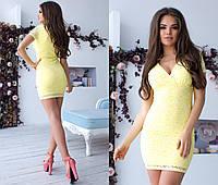 Желтое нежное платье с коротким рукавом