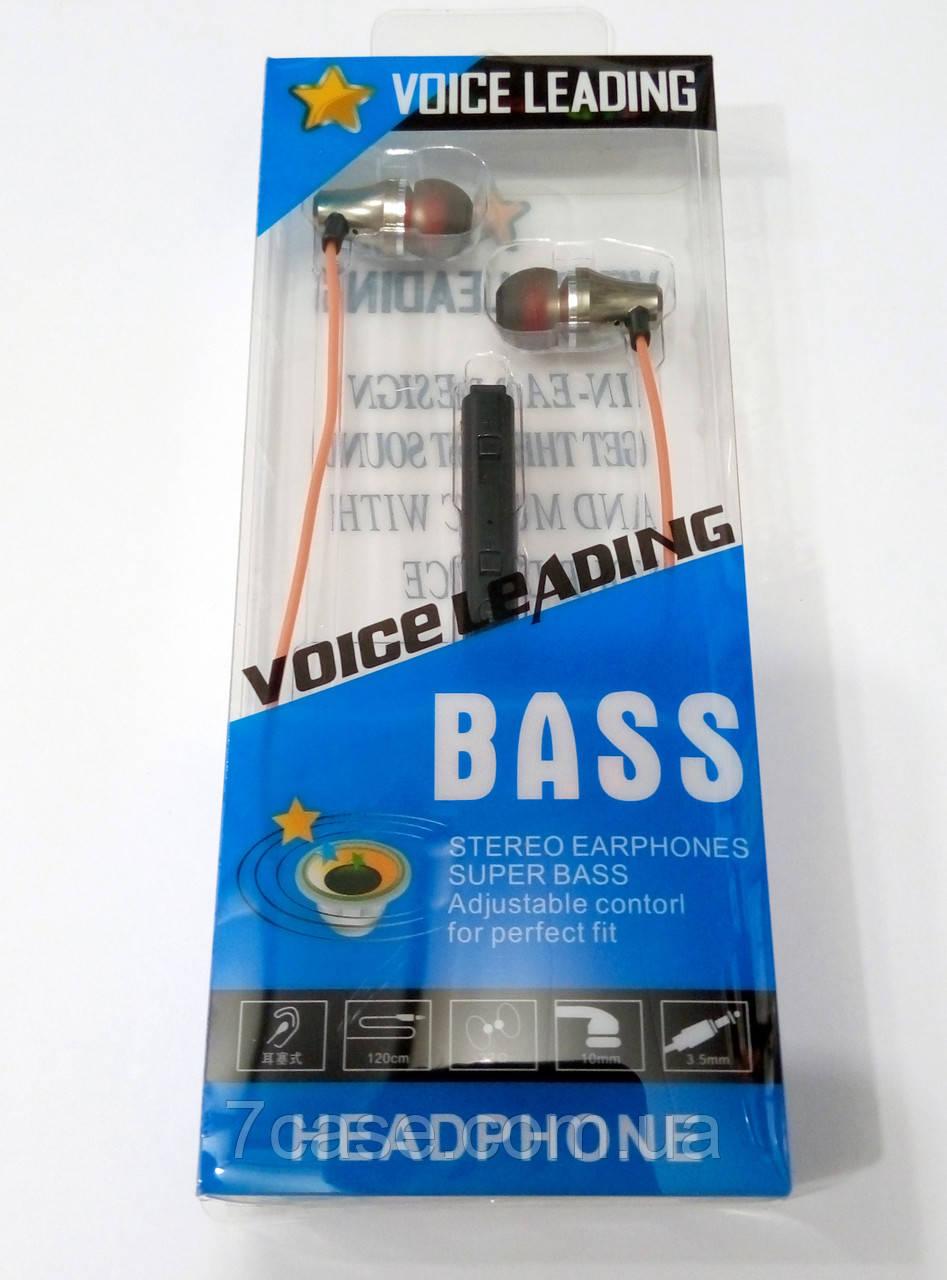 Наушники металлические с микрофоном Voice Leading Bass Metall