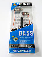 Наушники металлические с микрофоном Voice Leading Bass Metall, фото 1