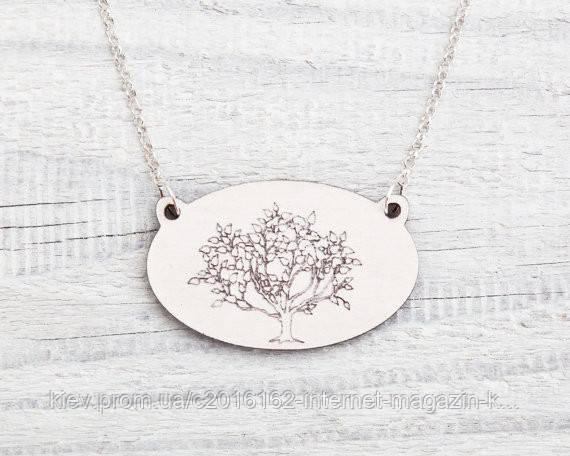 Кулон ручной работы Дерево белый дерево