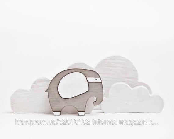 Брошь ручной работы Слон серый дерево