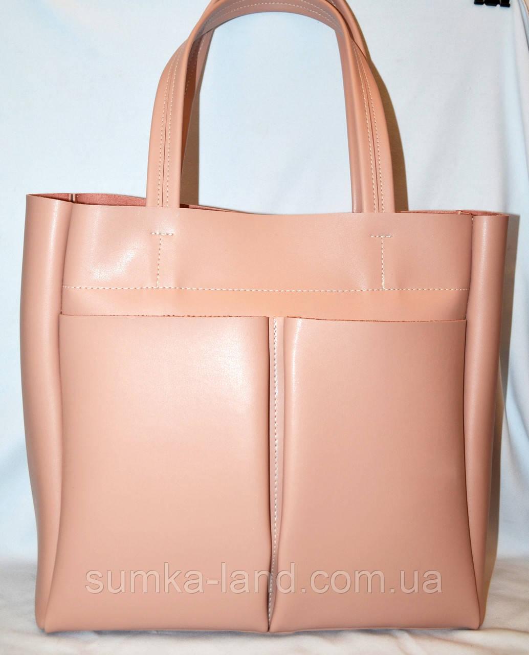 aeb9ff9ed03a Женская пудровая элитная сумка B Elit с двумя карманами 32 33 ...