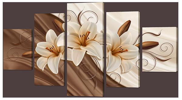 Модульная картина Три лилии на шелке