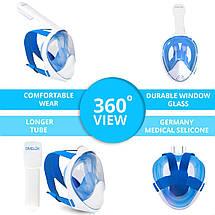 Полнолицевая панорамная маска DIVELUX для дайвинга и снорклинга S/M Синий, фото 2