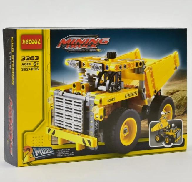 """Конструктор 3363 """"2 в 1"""" Кар'єрний Самоскид вантажівка або бульдозер 302 деталей."""