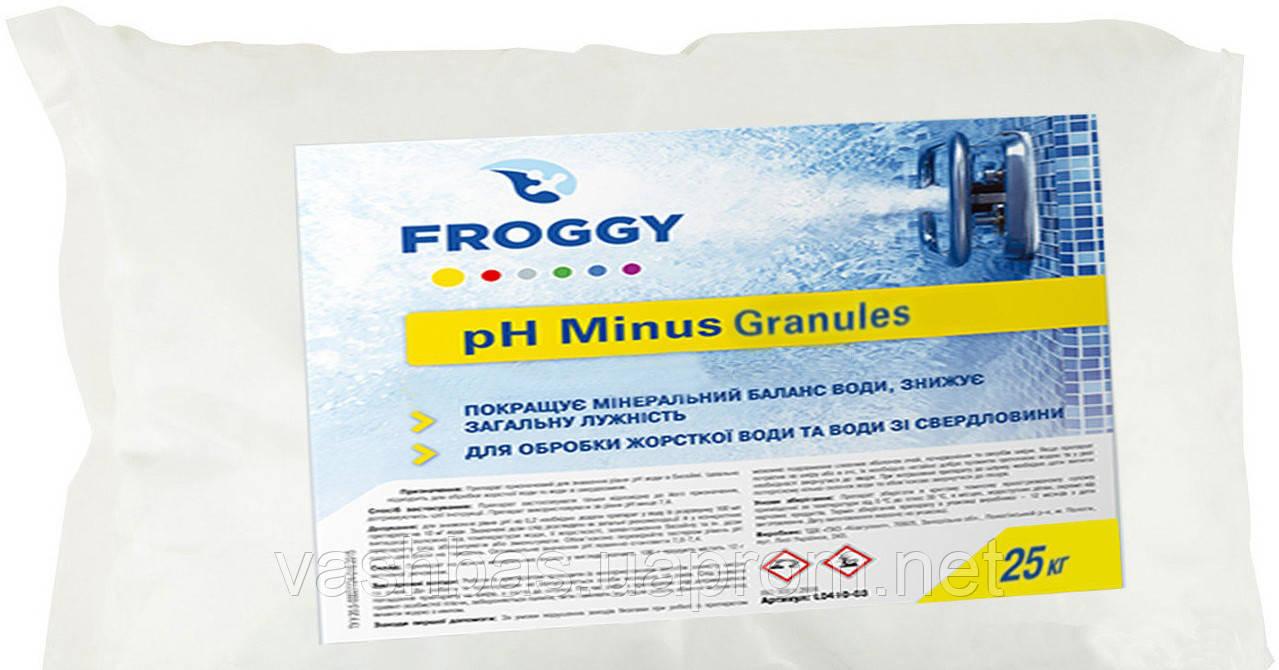 PH- Minus Granules, 25кг мешок, средство для понижения уровня Ph воды. Химия для бассейна FROGGY™