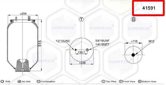 Пневмоподушка FRUEHAUF шпилька-воздух расстояние 139.7mm 4159NP01, 1DK21B2, 1DK21B6 (4159NP01 | 41591)