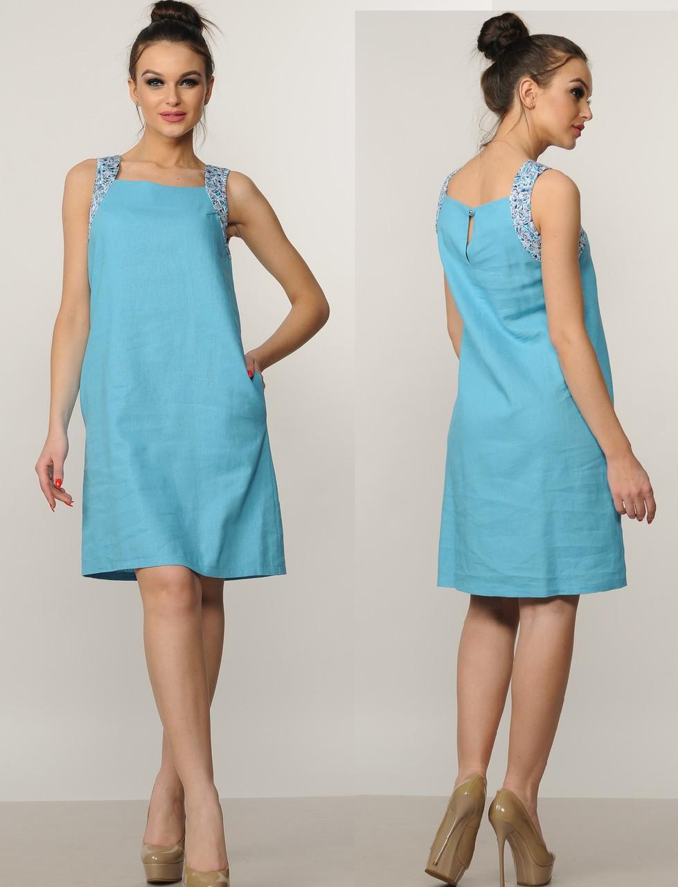 Льняное платье женское летнее лен а силуэтное
