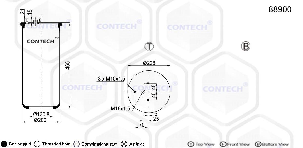 Пневмоподушка DAF XF 3 шпильки-воздух, 889MK2, W01M588679 1T15LLR5 (889M | 88900)