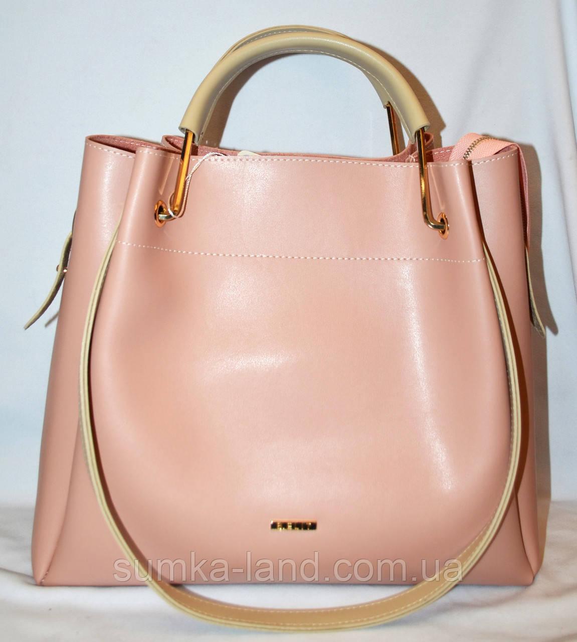 3253da499396 Женская элитная пудровая сумка B Elit с бежевыми ручками 32 30 грн ...