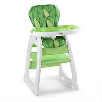 Детский стульчик для кормления, 5точ.ремни, регулируемая спинка,зеленый (HZ505-5)