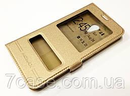 Чехол книжка с окошками Momax для Meizu M6 золотой