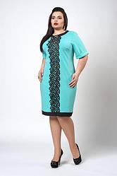 Сукня оздоблена мереживом 706-2 бірюзове