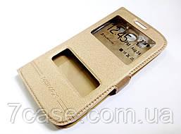 Чехол книжка с окошками для Samsung Galaxy S3 i9300 золотой