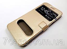 Чехол книжка с окошками для Samsung Galaxy A8 a800 (2015) золотой