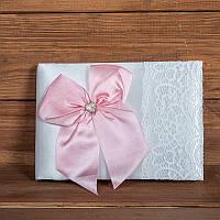 Свадебная книга пожеланий с розовым бантом (арт. BW-3)