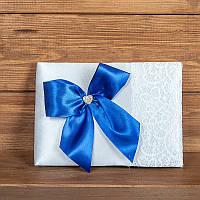 Свадебная книга пожеланий с синим бантом (арт. BW-6)