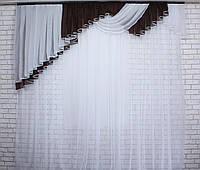 Ламбрекен на карниз 2,5м.№106 Цвет венге с белым (У)