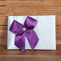 Свадебная книга пожеланий с фиолетовым бантом (арт. BW-13)